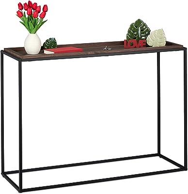 Relaxdays 10035299 Table Console, HxLxP 80 x 110 x 38 cm, Meuble d'appoint Industriel, Couloir & Salon, métal & MDF, Brun/Noir, Marron, 1 unité
