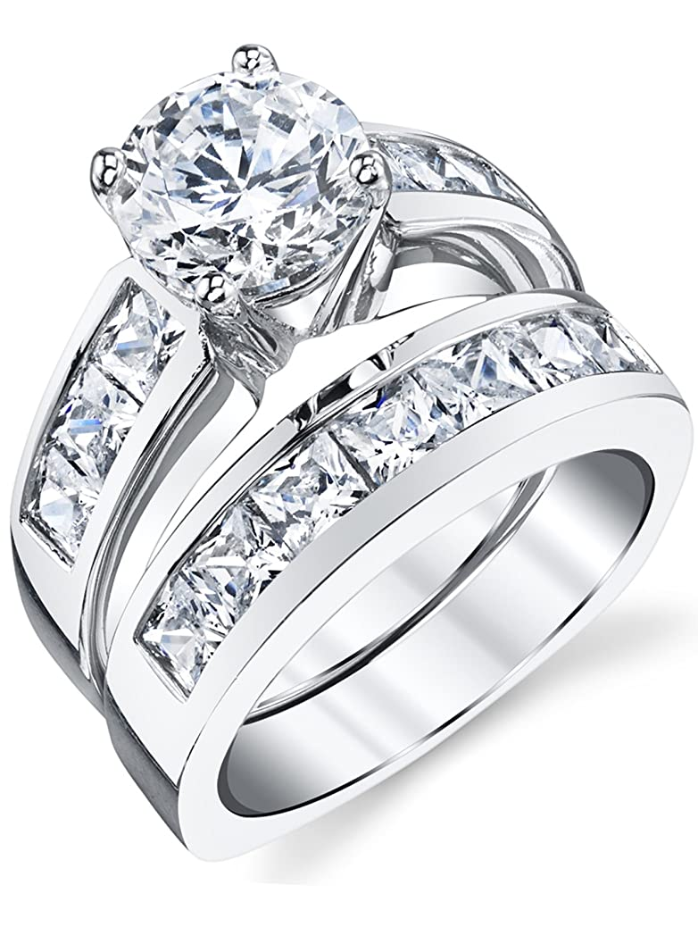 Sterling Silver Bridal Set Engagement Wedding Ring Bands with Round and Princess Cut Cubic Zirconia ftzf6862070489