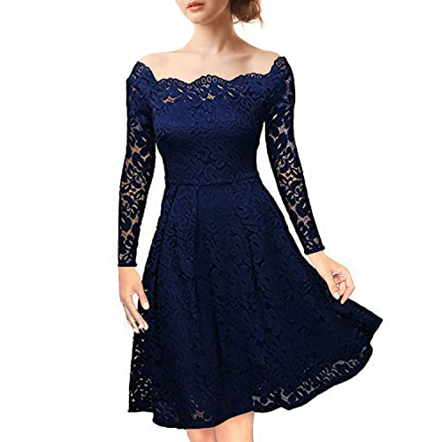 07cd3f144f81 NALATI Women s Vintage Floral Lace Off-Shoulder Long Sleeves Boat Neck  Cocktail Party Swing Dress