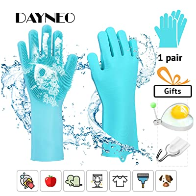 Magic Silicone Gloves with Wash Scrubber, Reusa...