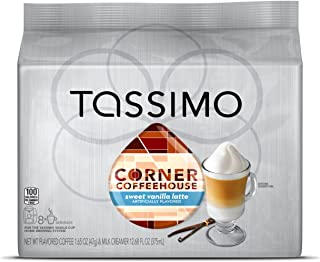 Corner Coffeehouse Sweet Vanilla Latte, T-Discs for Tassimo Brewing Machines, 8 Count