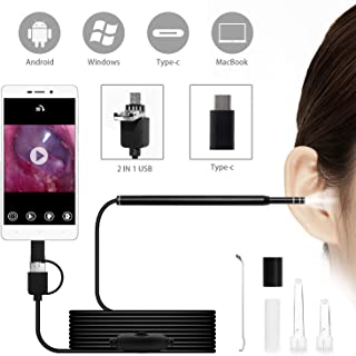 Codace Ear Otoscope USB Endoscope Inspection Camera for Android, Ear Scope Camera and Wax Remover with 6 Adjustable LED Lights, Digital Video Otoscope Ear Cleaning Endoscope with Wax Removal Tool