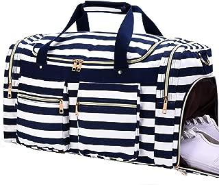 Weekender Overnight Duffel Bag Shoe Pocket for Women Men Weekend Travel Tote Carry On Bag (Stripe Blue White 2cm)