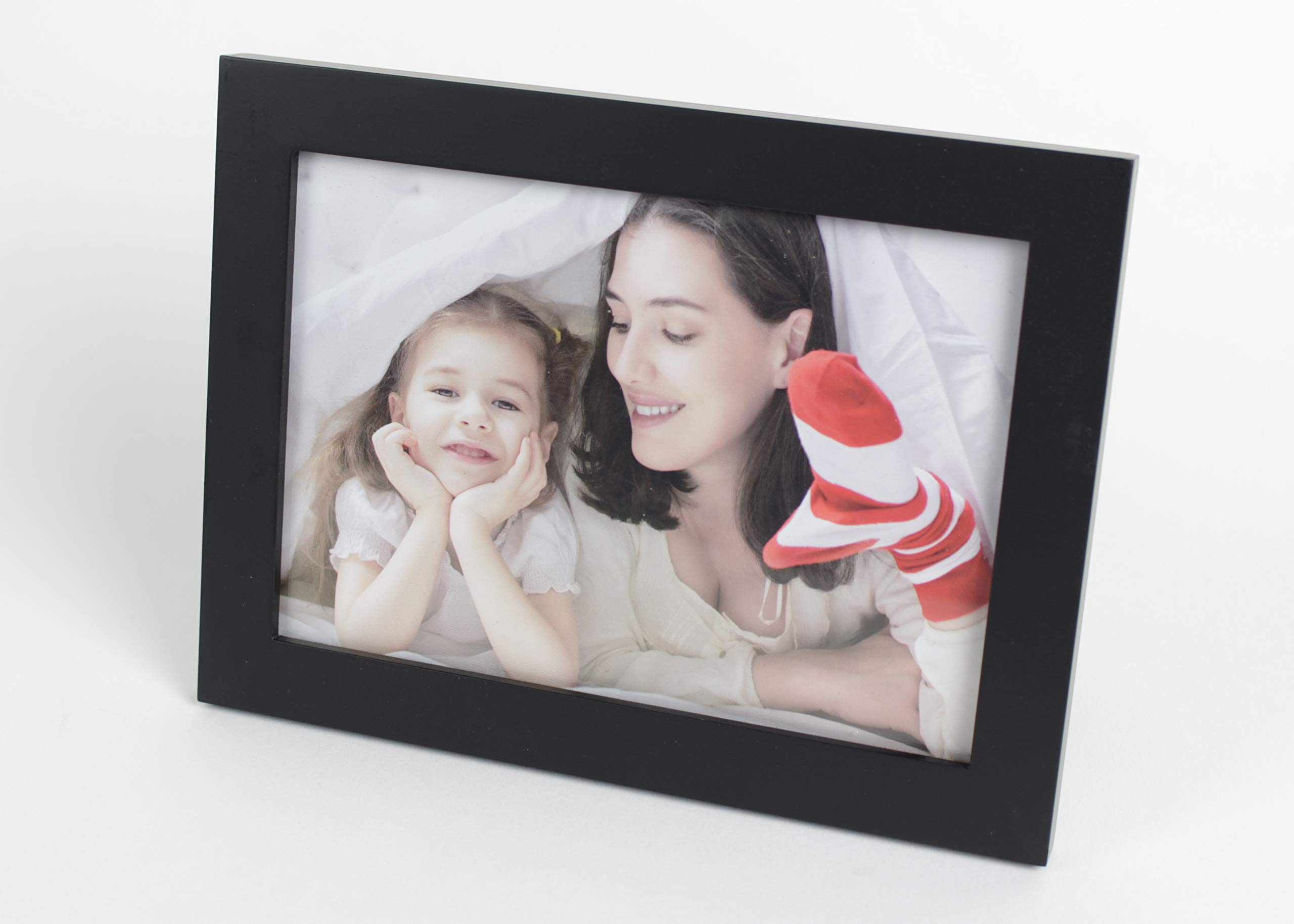 5x7 Black Wooden Picture Frames Made with Solid Wood with Glass Photo Protector for Home Decor