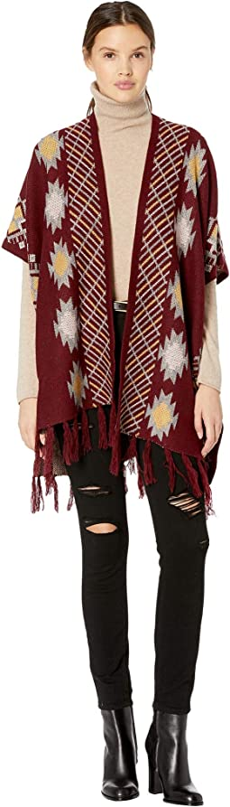 Tribal Inspired Fringe Trim Poncho