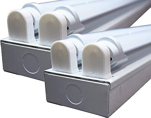 ✅ORILIS White 1-Pack, 2-Pack, 5-Pack, 10-Pack – 8 Ft 4 Light LED Commercial Flush Mount T8 Lighting Fixture Kit – 5000K Daylight with (4) 4 Ft LED Tubes Included (2-Pack) #Lighting & Ceiling Fans
