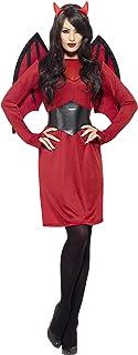 Smiffys Costume diable économique, avec robe, ailes, ceinture et cornes - ROUGE - TAILLE M