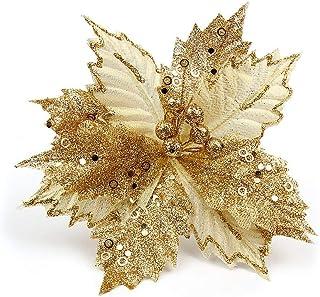 BESTOYARD Dcoracion Flores Oro Artificales para Árbol de Navidad y Guirnalda 22cm