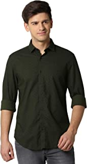 Peter England Men's Solid Slim Fit Casual Shirt (PJSFJSSBH76428_Green_46.0)