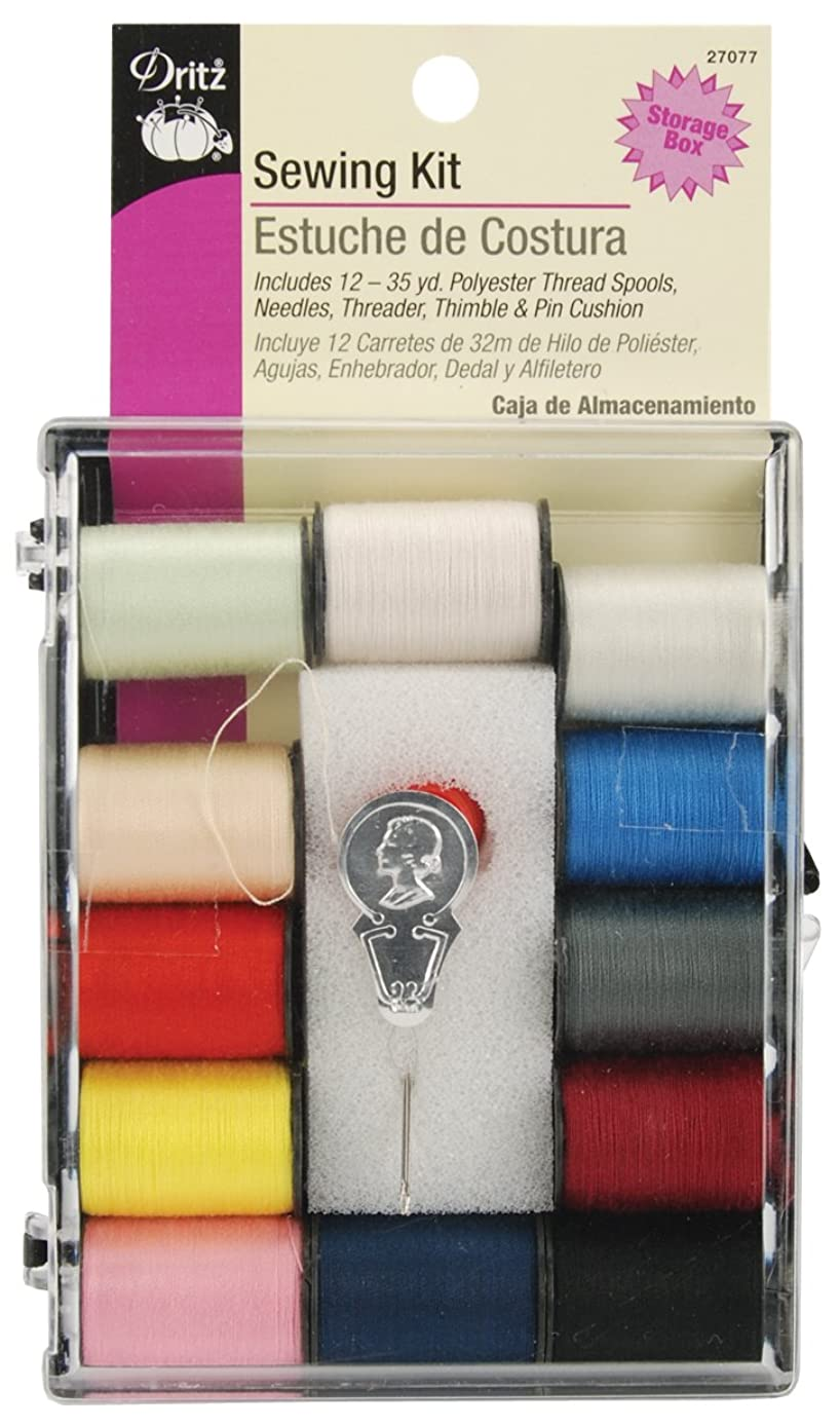 Dritz 27077 Sewing & Thread Kit, 12 Thread Colors