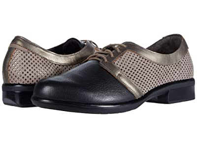 Naot Buran (Stone Nubuck Perforated/Black/Pewter Leather Combination) Women
