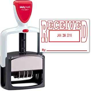 MaxMark Heavy Duty Style Date Stamp with Received self Inking Stamp - Red Ink