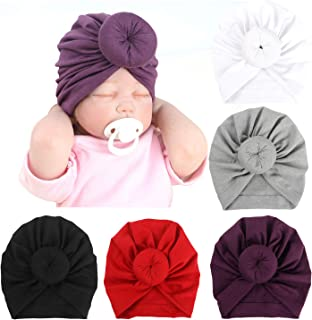 BQUBO 5 Pieces Cute Turban Hats for Baby Girls Vintage Soft Bun Knot Infant Toddler Baby Cap