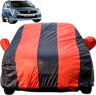 Autofact Car Body Cover for Maruti Wagon r/Wagonr (2000 to 2018) (Mirror Pocket, Premium Fabric, Triple Stiched, Fully Elastic, Red/Blue Color)