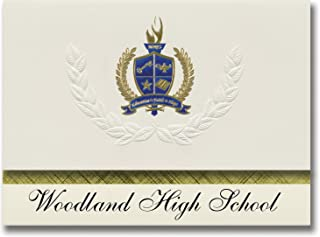 Signature Announcements Woodland High School (Cartersville, GA) Graduation Announcements, Presidential style, Elite package of 25 with Gold & Blue Metallic Foil seal