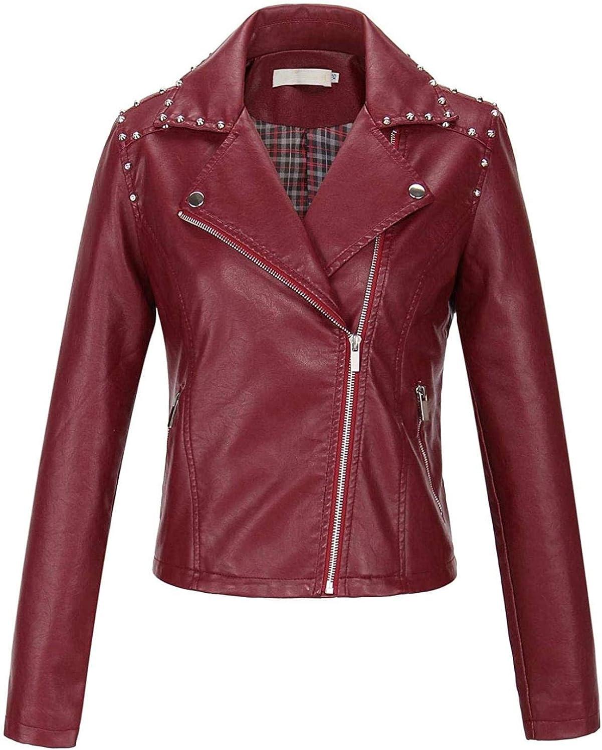 Women's Embroidery Crane Faux Leather Studded Moto Biker Jacket