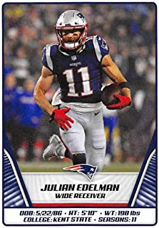 2019 Panini NFL Sticker #71 Julian Edelman New England Patriots (Small, Thin, Peelable Sticker Football Card)