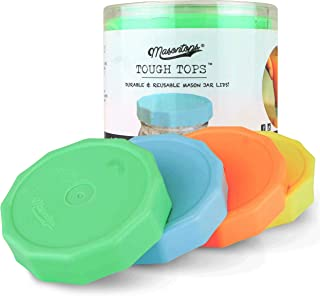 Masontops Tough Tops - Wide Mouth Mason Jar Lid - Multi Color - BPA-Free Plastic Screw Caps - Reusable Airtight Storage Covers