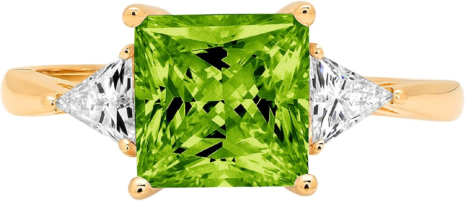 2.40 ct Princess Trillion cut 3 stone Solitaire Accent Genuine Flawless Natural Green Peridot Gemstone Engagement Promise Statement Anniversary Bridal Wedding Ring Solid 18K Yellow Gold