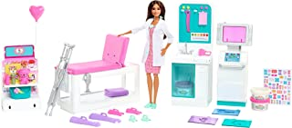 Barbie Fast Cast Clinic Playset, Brunette Doctor Doll (12-in), 30+ Play Pieces, 4 Play Areas, Cast & Bandage Making, Medic...