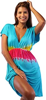 Tie Dye Cap Sleeve Dress Casual Summer Fashion V-Neck Beach Cover Up