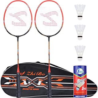 Fostoy Badminton Racquet Badminton Racket Set-Professional Carbon Fiber Badminton Racket with 3 shuttlecocks and Carrying Bag-Perfect for Adults