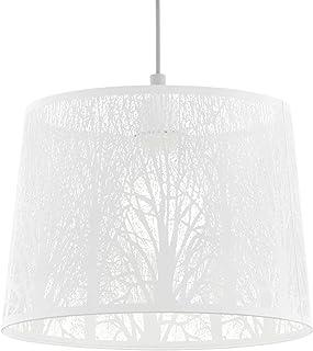 EGLO Hambleton - Lámpara de techo colgante, 1 lámpara de techo vintage, retro, de acero en blanco, níquel mate, lámpara de mesa de comedor colgante con casquillo E27