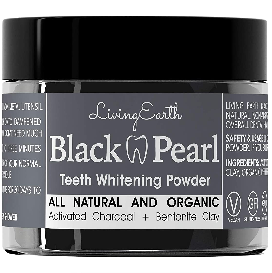 宿記述するシールドBlack Pearl Activated Charcoal Teeth Whitening - Organic & All Natural - Remineralizing Tooth Powder - Anti-Bacterial - Made In USA - 2 oz...