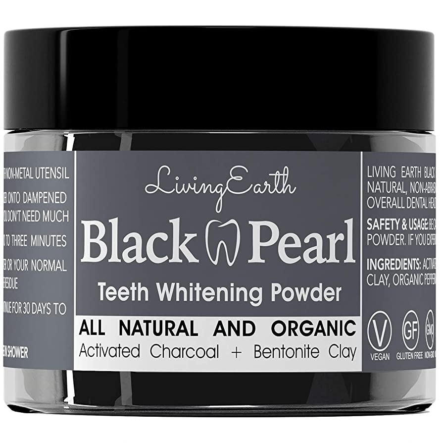 荒れ地真っ逆さまデイジーBlack Pearl Activated Charcoal Teeth Whitening - Organic & All Natural - Remineralizing Tooth Powder - Anti-Bacterial - Made In USA - 2 oz...