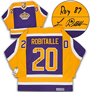 Signed Luc Robitaille Jersey - Rookie Year Retro CCM Roy 1987 Note - Autographed NHL Jerseys