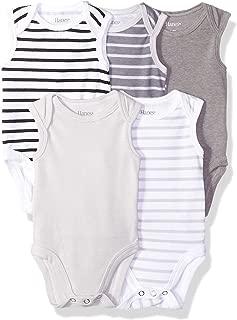 Hanes Ultimate Baby Flexy 5 Pack Sleeveless Bodysuits (Tanks), Grey Stripe, 18-24 Months