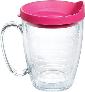 Tervis Clear & Colorful 16oz Mug Insulated Tumbler, Fuchsia Lid