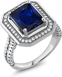 Gem Stone King 4.32 Ct Stunning Emerald Cut Blue Simulated Sapphire 925 Sterling Silver Women's Ring (Available 5,6,7,8,9)