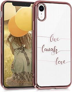 kwmobile skal kompatibel med Apple iPhone XR – mobiltelefonskal – mobiltelefon fodral Live Laugh Love Rosegold Transparent