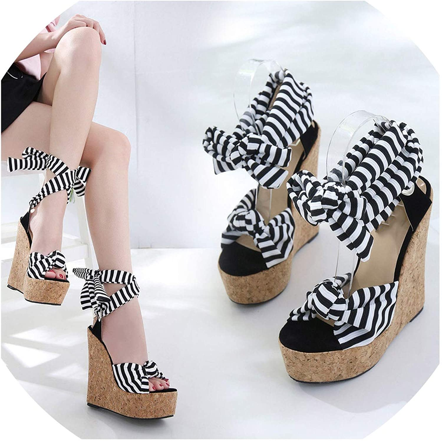 16CM Wedges Sandals Pumps High Heel Female Sandals Stripe Cross Strap Peep Toe shoes