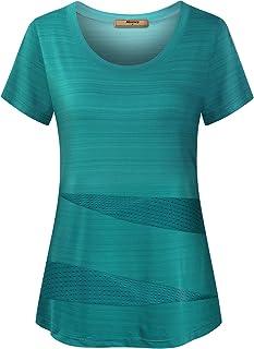 Miusey Women's Cute Mesh Active T-Shirts Short Sleeve Yoga Running Workout Tops