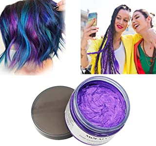 Mofajang Purple Hair Color Wax, Natural Hairstyle Wax 4.23 oz, Temporary Hairstyle Cream for Party, Cosplay, Halloween, Daily use, Date, Clubbing (Purple)