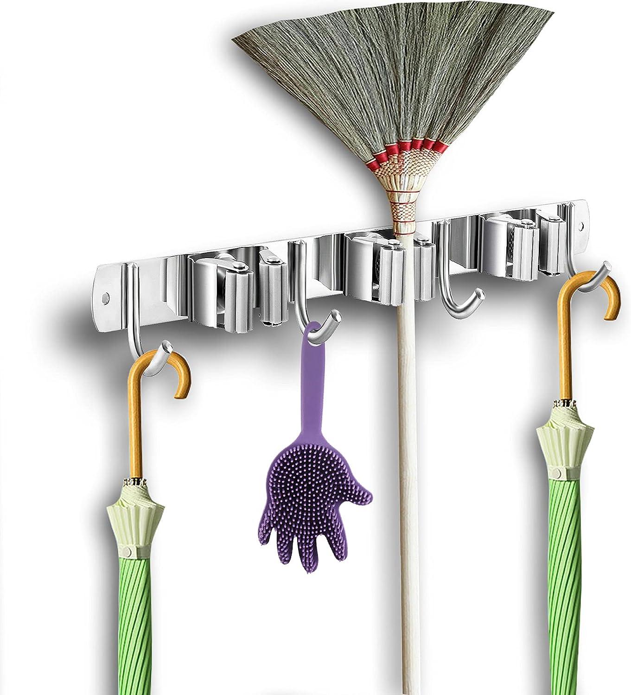 Gueryee Broom and Mop Holder Wall Mounted, Broom Hanger, Broom Organizer Wall Mount, Stainless Steel Broom Hook, Heavy Duty Broom Rack for Laundry Room, Garden, Garage, Bathroom(3 Racks 4 Hooks)
