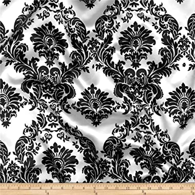 Ben Textiles Charmeuse Satin Damask Fabric, White/Black, Fabric by the yard
