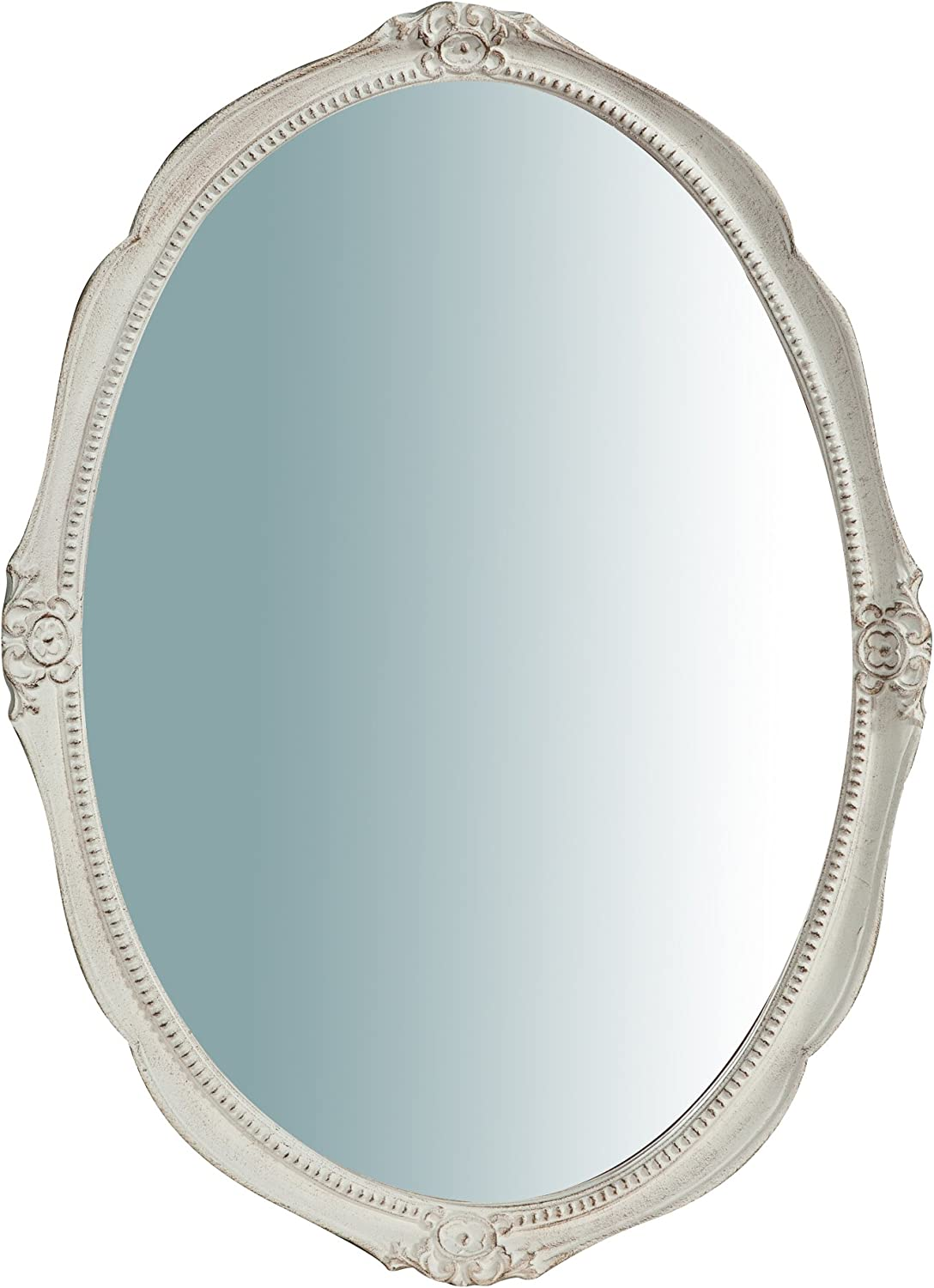 W43xDP3,5xH61 cm Sized Made in  Wood Made Antiqued White Finish Wall Mirror Horizontal greenical Setting