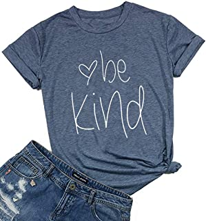 DUTUT Be Kind Thanksgiving T Shirts Women Cute Heart Blessed Shirt Funny Inspirational Teacher Fall Shirts Tops