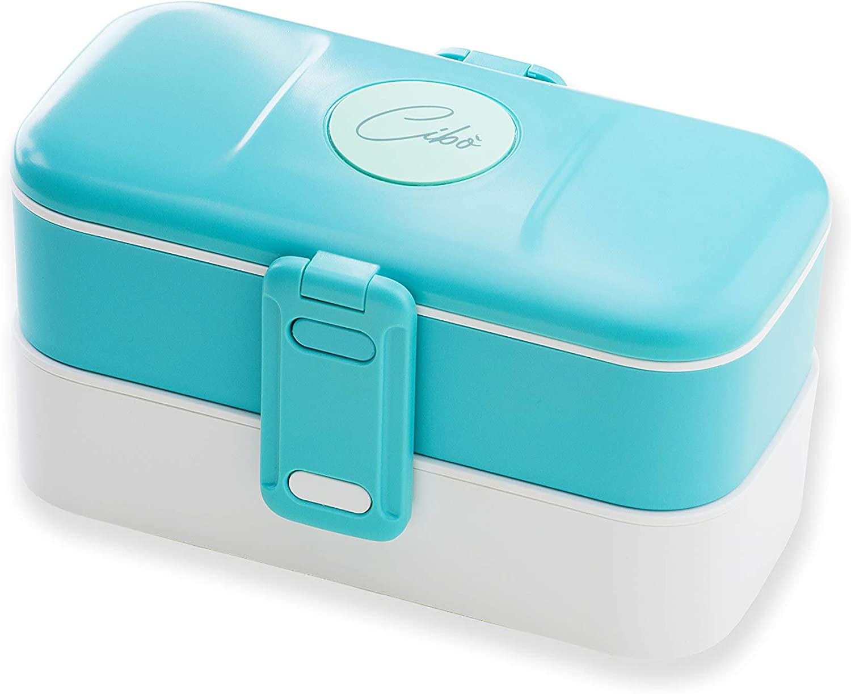 Cibò Bento Lunch Box – Fiambrera hermética apta para microondas y cubiertos de acero inoxidable – 1,2 litros (color azul)