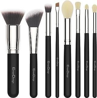 EmaxDesign 8 Pieces Makeup Brush Set Face Eye Shadow Eyeliner Foundation Blush Lip Makeup Brushes Powder Liquid Cream Cosmetics Blending Brush Tools (Silver Black)