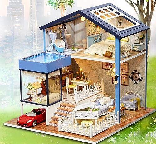 JUNJUNA Kit Mini Kit Manuel Manuel Maison De Jouets en Bois - LED Seattle House Modèle Et Mobilier Boîte à Musique