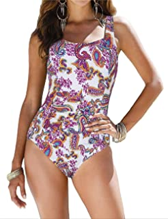 6114dc6de8f coastal rose Women's One Piece Swimsuit Ruched Monokini Modest Swimwear