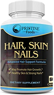 Pristine Foods Hair, Skin, Nails Vitamins – Biotin to Make Your Hair Grow & Skin Glow with 20+ Vitamins - Nail Growth and ...