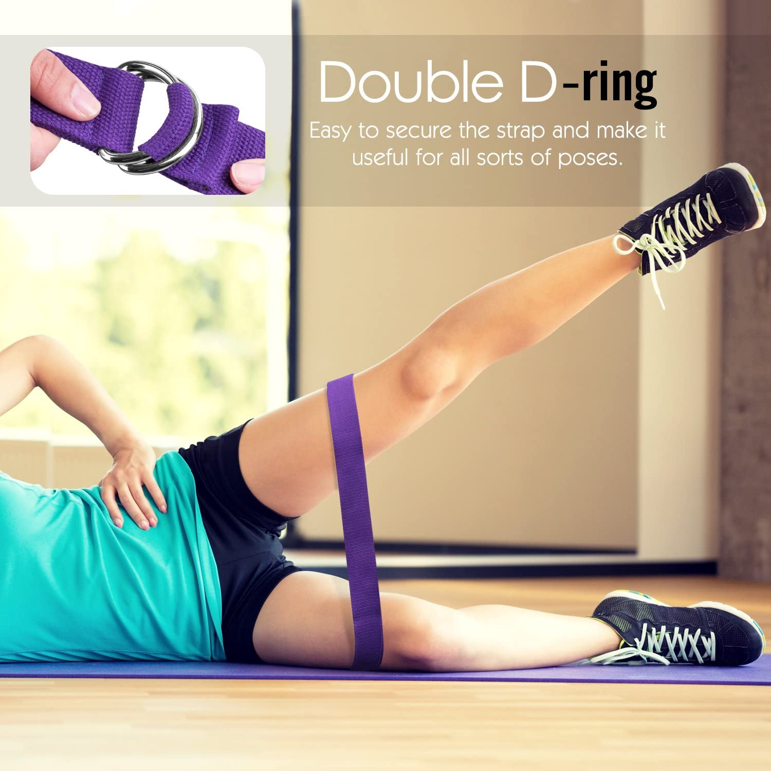 Pilates Stretching Exercise Fitness Bands Made with Durable Cotton Soft with Metal D-Ring Buckle MoKo Yoga Strap Belt 6ft 2 Pack Physical Therapy Best for Holding Poses Increase Flexibility