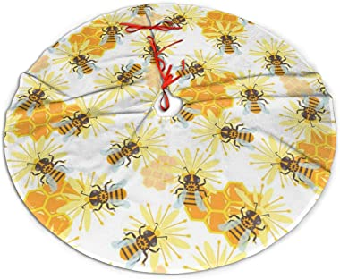 Gao808yuniqi Honey Jar Seamless Pattern with Bee Sketch Christmas Tree Skirt 30 36 48 Inches, Party Decor Festive Holiday Ornaments Xmas Tree Skirt,Christmas Trees Mat Decorations Indoors