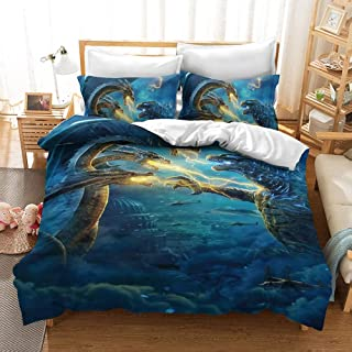 JLKPG Three-piece Godzilla Gojira 3D Anime Quilt Cover Pillowcase Bedding, 100% Polyester Fiber, Soft And Comfortable, The...