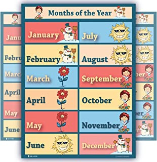 Learning months of year chart LARGE LAMINATED educational seasons poster for children schools, classrooms, nursery kindergarten wall chart teaching weather chart toddlers 18x24
